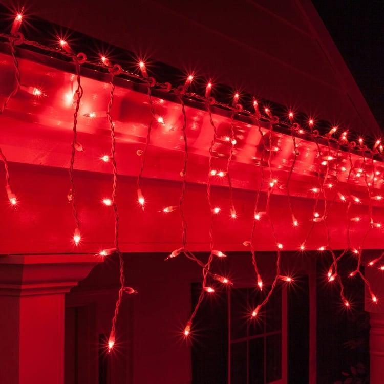 Гирлянда уличная Бахрома, 120 led, красная, белый/чёрный провод, 5м.