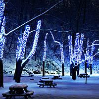 Гирлянда уличная Нить, 200 led, синяя, белый/чёрный провод, 20м.