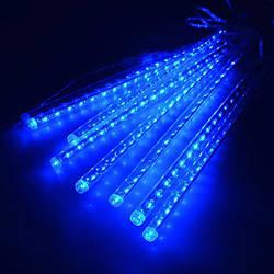 Гирлянда Тающие сосульки, 8шт, 30 led, синяя, прозрачный провод, 50 см.