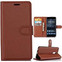 Чехол-книжка Litchie Wallet для Nokia 6 Коричневый