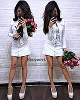 Джинсовый юбочный женский костюм с пиджаком tez910762