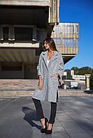 Шерстяное женское пальто оверсайз с карманами tez140298