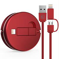 Вытяжной USB кабель 2 в 1 Iphone+microUSB. Универсальный USB шнур. Тип 1
