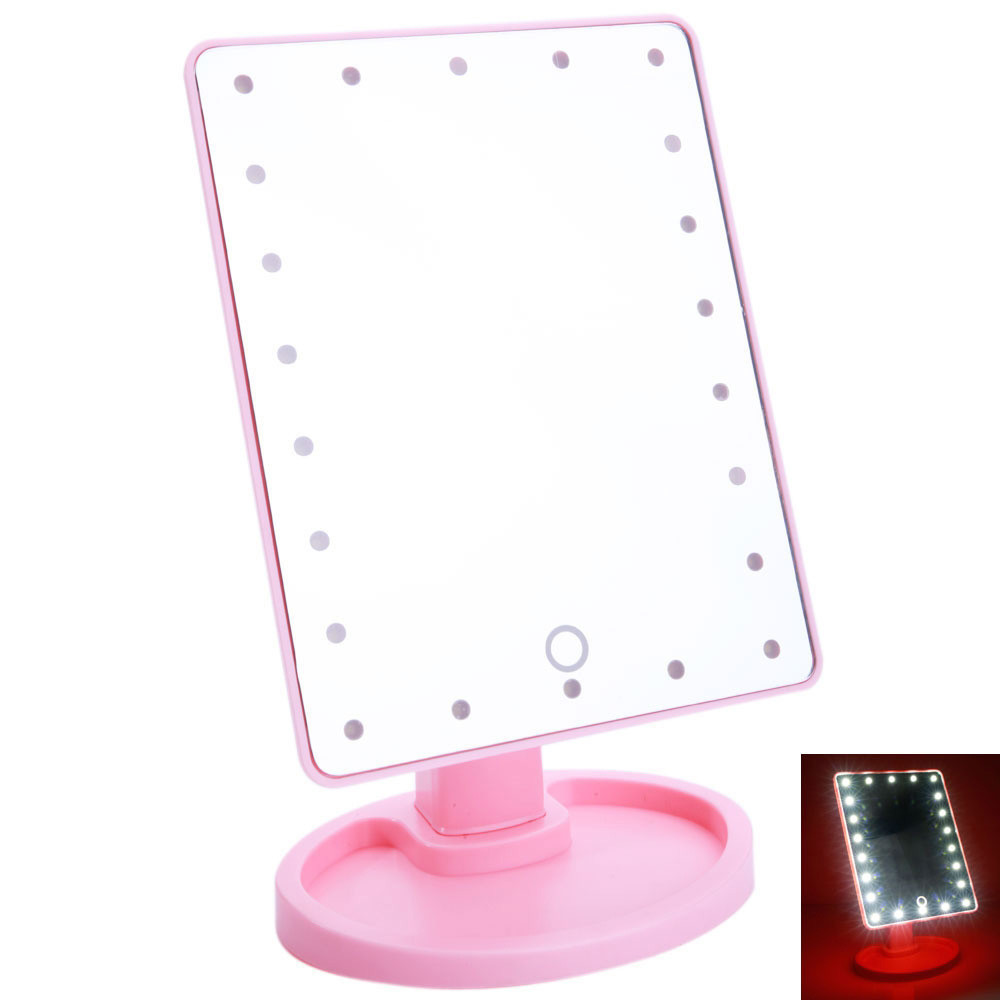 "Зеркало для макияжа с подсветкой ""Large LED Mirror"" розовое"