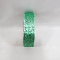"Блестящая лента""парча"",цвет зеленый с серебром(ширина2.5см)1 рулон 25 ярдов, фото 1"