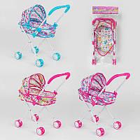 Кукольная коляска для кукол и пупсов 3 дизайна, металл, упакована в кульке