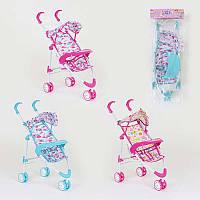 Кукольная коляска трость для кукол и пупсов трехколесная 3 дизайна, металл, упакована в кульке