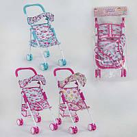 Кукольная коляска прогулочная для кукол и пупсов с козырьком 3 дизайна, металл, упакована в кульке