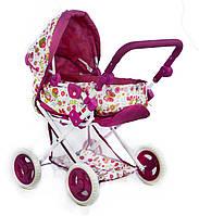 Кукольная коляска розовая для кукол и пупсов с перекидной ручкой и сеткой для мелочей упакована в коробку