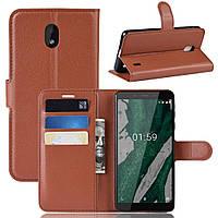 Чехол-книжка Litchie Wallet для Nokia 1 Plus Коричневый, фото 1