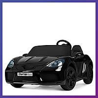 Детский электромобиль Porsche резиновые колеса Bambi M 4055 ALS-2 черный | Дитячий електромобіль Бембі чорний
