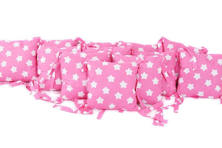 Набір подушок-бортиків Зірки на рожевому ( 12 шт) Бавовна