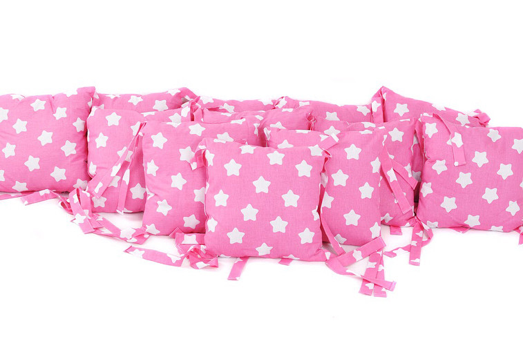 Набор подушек-бортиков Звезды на розовом (12 шт) Хлопок