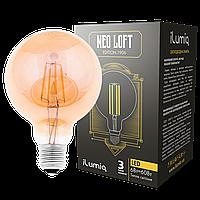 Светодиодная ретро лампа филамент 6w E27 шар iLumia