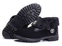 Зимние ботинки женские Timberland Roll Top с мехом (Тимберленд, тимберленды) черные, тимберленд ролл топ