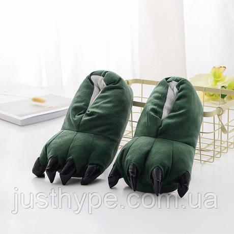 Мягкие тапочки кигуруми зеленые лапы   Код 10-2553