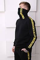 Бафф утеплённый чёрный с жёлтым лампасом Off White, фото 1
