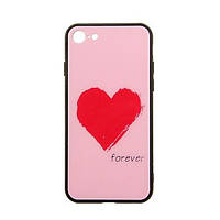 Накладка для iPhone 7/iPhone 8 Case TOTO Glass Fashionable Red Heart on Pink