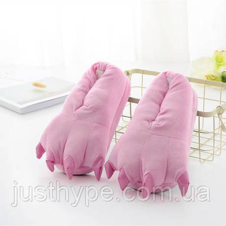 М'які тапочки кигуруми ніжно-рожеві лапи Код 10-2633