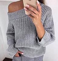 Теплый женский вязаный свитер свободного кроя tez6804454