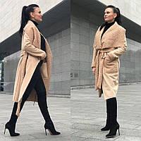 Женское пальто из замши с искусственным мехом tez5802152