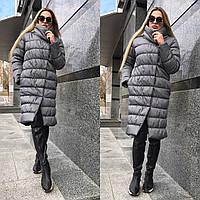 Женская стеганная теплая куртка на зиму удлиненная tez5601161