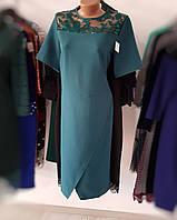 Зеленое платье с коротким рукавом и вставкой сетки сверху