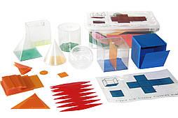 Набір моделей геометричних тіл з сіткою, секціями і накладними формулами 6шт, 10см, пластик