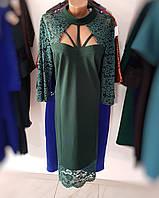 Необычное стильное вечернее платье зеленого цвета большие размеры