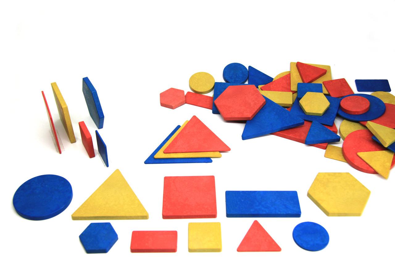 Логічні блоки Дьєнеша, 60 штук з шестикутниками