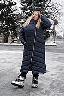 Женское плащевое пальто батал с капюшоном длинное tez10151311