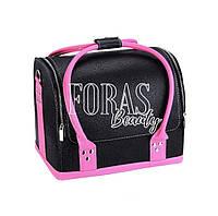 Кейс для косметики кожзам, черный с розовыми ручками