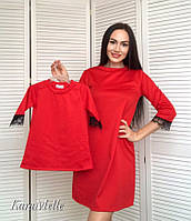 Платье прямое для мамы и дочки с кружевом tez512128, фото 1