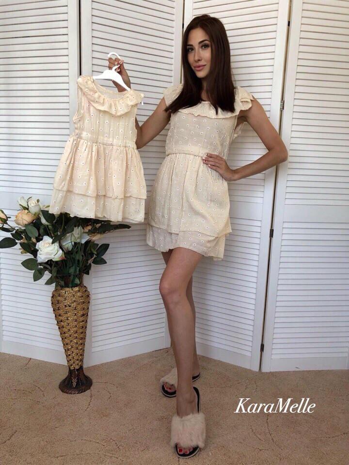 Хлопковое летнее платье для мамы и дочки tez512129