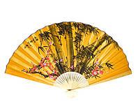 """Веер настенный """"Сакура с бамбуком на желтом фоне"""" шелк (90 см)"""