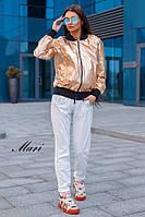 Женская легкая куртка из металлизированной экокожи tez630620