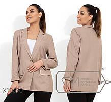 Женский льняной пиджак батал на пуговице tez1151561