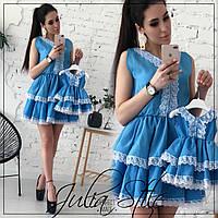 Набор для мамы и дочки платье с двойной пышной юбкой tez282132