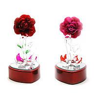 Лебеди хрустальные с цветком с подсветкой (12х6х6,5 см)(8157K)