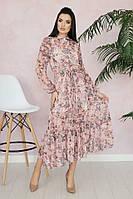 Шифоновое платье-рубашка ниже колена с поясом tez16032608
