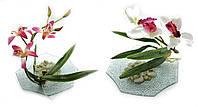 Цветок орхидеи на стеклянной подставке (XM 18.16.17)(d-18,5 см)