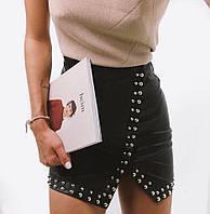 Кожаная женская юбка с заклепками и разрезом tez6811209