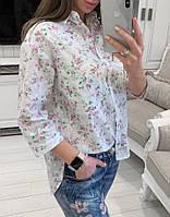 Хлопковая женская рубашка с летний принтом tez3313237