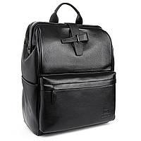Стильный офисный черный кожаный рюкзак BRETTON 36*29*15 см (унисекс/20литров), BP 2004-7 black