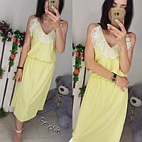 Летнее шифоновое платье с кружевом на бретельках tez57032896