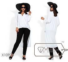 Женская блуза асимметричная длинная батал tez1151855