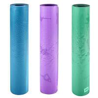 Йогамат каучуковый, 183*68*0,5см, сиреневый, зеленый,голубой