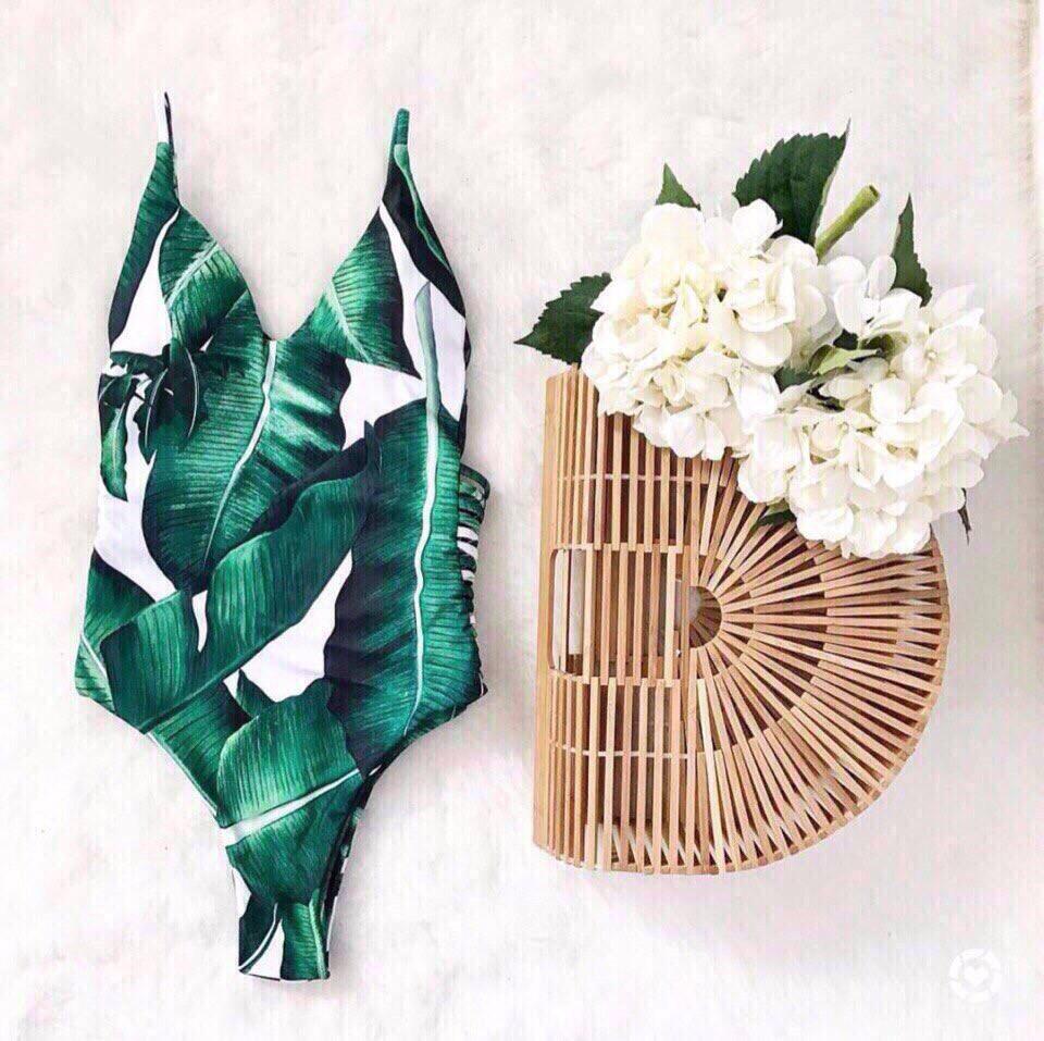 Женский сдельный купальник с рисунком пальмовых листьев tez6818261