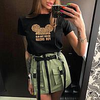 Коттоновая женская юбка с ремешками и накладными карманами tez6811255