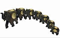 Слоны 7 шт деревянные с медными вставками